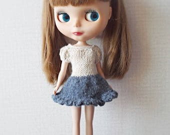 blythe dress, knitted doll clothes deep blue