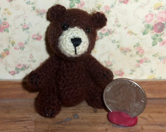Miniature Crochet Brown Bear Thread Artist Bear  Ready to Ship