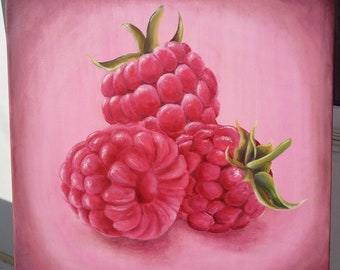 Raspberry , oil painting on canvas 50x50cm.