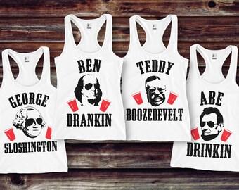 MOUNT SLOSHMORE Tank Top 4th of July Shirt- White with Black & Red Print, President Shirt, Patriotic, Drinking, Merica Tank, Ben Drankin