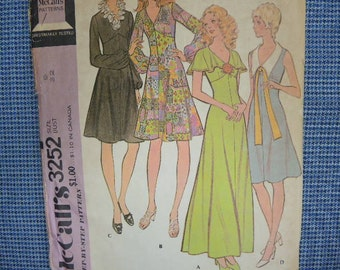 vintage 1970s McCalls sewing pattern 3252 misses high waisted dress in two lengths size 9