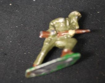 Vintage WWII Toy Soldier in Gas Mask