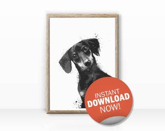 Dachshund Illustration digital download
