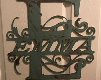 Customized initial door hanger with name. Painted to your color choice!