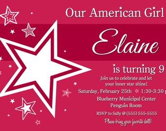 American Girl Themed Invite