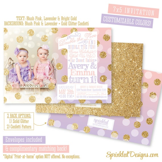 Personalised New Baby Or Birthday Card By Mint Nifty: First Birthday Invitation For Twin Girls Blush Pink Lavender