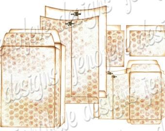 6x9 Printable Envelope Album Distressed Bubble Wrap & Plain Templates