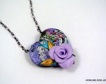 Purple Rose BoHo necklace, polymer, handmade, Howling Dog Jewelry