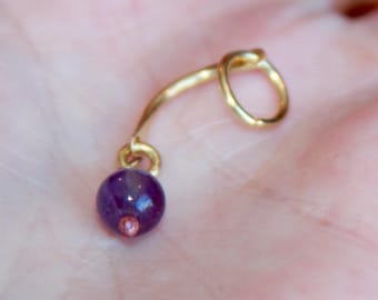 Genuine Amethyst Belly Button Rings, Gold Belly Ring, Delicate Belly Button Ring, Purple belly button rings, navel ring, girlfriend gift