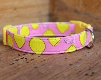 Lemon Dog Collar - Pink with Yellow Lemon Print