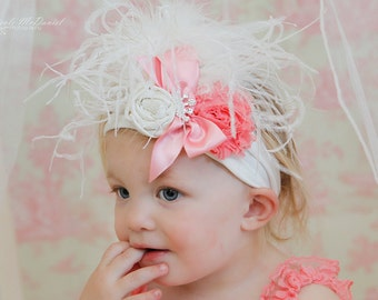Headband with rolled rose, crystal brooch, ribbon bow, shabby rose, and curly ostrich feathers made to match lace rompers