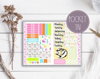 Neon Spring Bunnies Travelers Notebook Planner Stickers Pocket Size