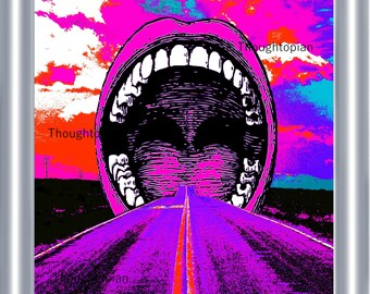 Psychedelic Mouth Art Print 8 x 10 – Trippy Road Leading into Mouth - Surreal Visionary Art - Rave Music Festival - Pop Art - Surrealism