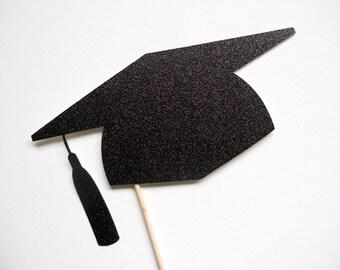 Glitzer Graduation Hut Fotostand Stütze. Graduierung Fotostand Stütze. Abschluss. 2014. Klasse von 2014. Glitter. Einzelne