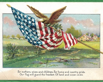 Vintage Embossed Patriotic Postcard - An Eagle Flying Carrying the American Flag  (3317)