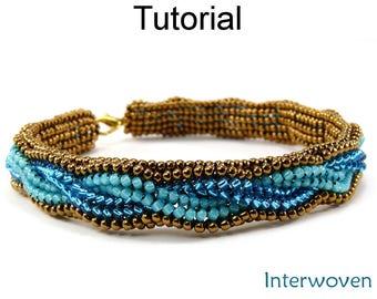Beading Tutorial Pattern - Beaded Bracelet - Herringbone Stitch - Seed Beads - Simple Bead Patterns - Interwoven #5295