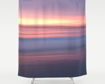 Sunrise photo shower curtain lilac shower curtain pastel purple shower curtain sunset shower curtain sea bathroom decor beach shower curtain