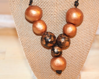 Rose black necklace, Eco Friendly handmade clay beads