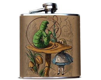 Hookah Smoking Caterpillar Flask - Alice in wonderland Color Illustration, Cannabis smoke, 420 Gift, Book Reader Gift