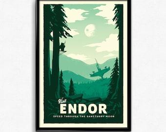 Endor - Star Wars Retro Travel Poster Print
