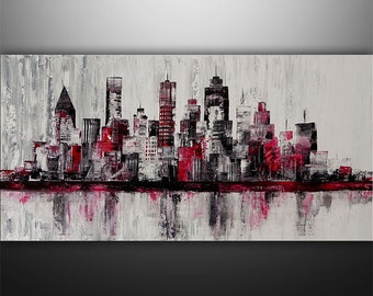 Large Painting Abstract Original Modern Cityscape Art by Gabriela 48x24 black, white, red