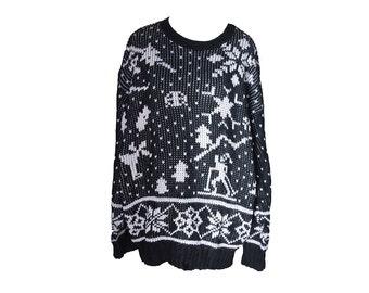 Vintage Skiing Sweater Black White Size Large