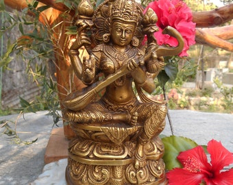 "8"" HIMALAYAN 8 Metal Alloy Blessing SARASWATI / SARASVATI Statue from Himachal Pradesh - India. Blessed & Initiated. Goddess of Knowledge."