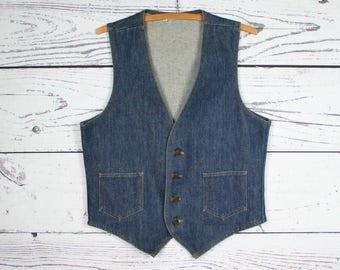 Mens M | Vintage Blue Jean Denim Bench Work Vest