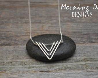 Sterling Silver Triple Triangle Necklace - Modern - Simple - Sleek