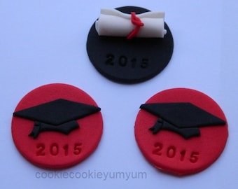 12 edible GRADUATION HAT & DIPLOMA scroll year date cupcake topper decoration party wedding anniversary birthday cookie university college