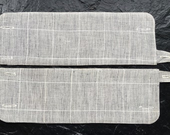 Pair Vintage Men's Shirt Cuffs >Size 11 > Starched, Stiff Gray Chambray with White Pinstripes
