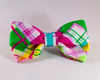Preppy Pink and Yellow Madras Dog Bow Tie