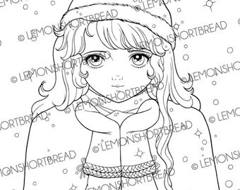 Digital Stamp Winter Snow in my Palm Girl, Digi Download, Christmas Coloring Page, Clip Art, Graphic, Scrapbooking Supplies