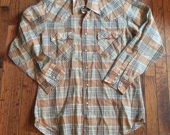 Vintage Men's Levi's Pearl Button Plaid Shirt Western Size Large