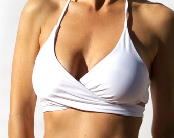 Reversible White/White Wrap Around Bikini Top - Great Support - Ties in Back - High Quality Swimwear Fabric - New