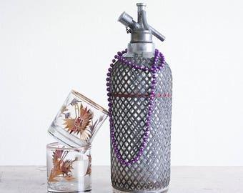 Vintage Seltzer Bottle / Siphon Bottle / Mid Century Barware / Metal Mesh