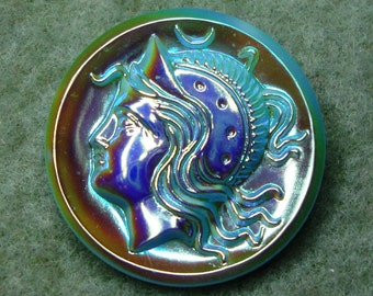 Czech Glass Button 32mm - handpainted AB - Minerva / Pallas Athena head, blue (B32173)