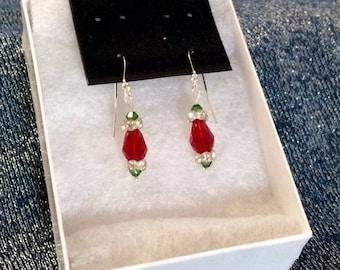 Swarovski Red & Green, Sterling Silver Earrings