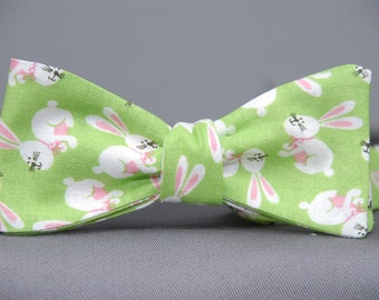 Easter Bunny on Green  Bow Tie