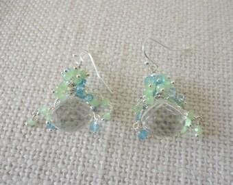 blue topaz, chalcedony earrings, quartz earrings, briolette earrings, cluster earrings silver, gem stone earrings, unique for women earrings