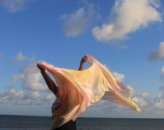 Sweet Sunrise ... hand painted silk dance veil