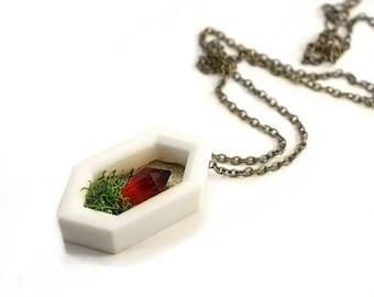 Red Crystal Garden - 3D Printed Geometric White Planter Necklace -swarovski crystal