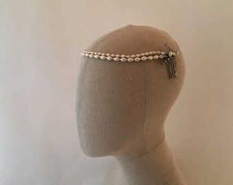 1920's Wedding Pearl Headband, 1920's Bridal Pearl Headband, Diamante and Pearl Wedding Headband, Wedding Headpiece, Ivory Pearl Headpiece