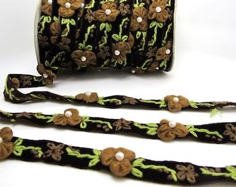 5/8 Inch Brown Embroidered Velvet Ribbon with Felt Flower|Sewing|Quilting|Jewelry Design|Embellishment|Decorative|Acrylic Felt Flower