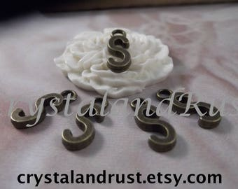 "5 Letter ""S"" Antique Bronze Charms --- Antique Bronze Color"