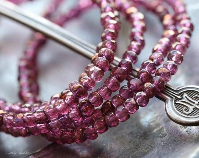 sale .. BRONZED PLUM BITS .. 50 Premium Czech Glass Rondelle Beads 2x3mm (4887-st)