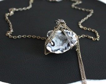 Blue-Gray Crystal Cave Geode Necklace that Rocks