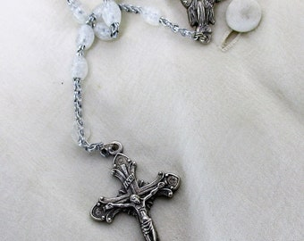 Italian Vintage Our Lady Madonna Rosary White Catholic Nun Necklace Lovely HTF