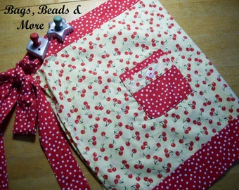 Adult Apron,  Cherry Apron,  Red & White Polka Dot Apron, Half Apron