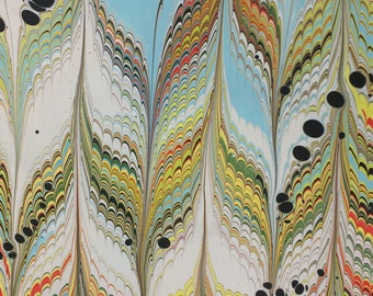 """19"""" x 25"""" marbled paper - Wide Feather - multi-color"""